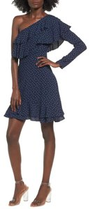 WAYF One Shoulder Rayon Lined Ruffle Tiered Dress