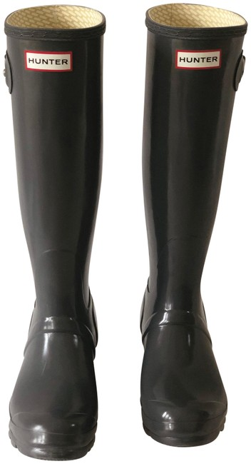 Item - Grey Tall Gloss Rain Boots/Booties Size US 7 Regular (M, B)