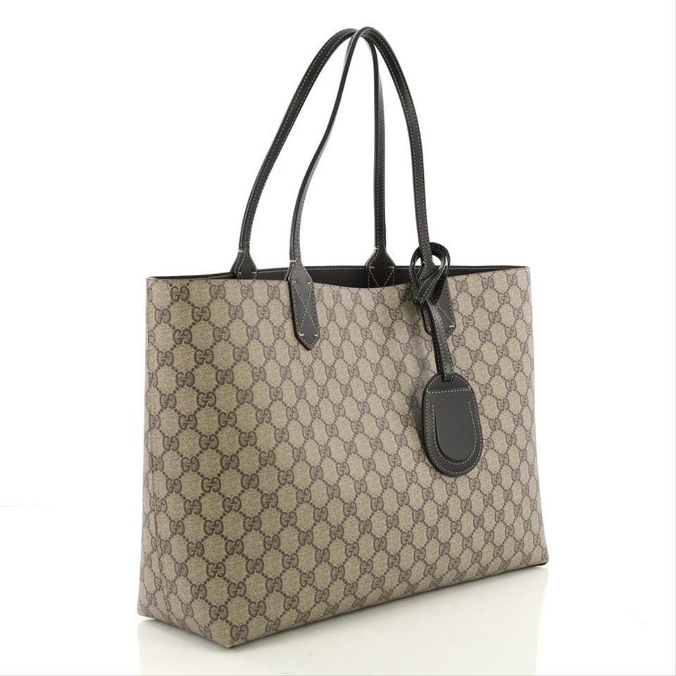 456c4e8daea Gucci Reversible Gg Print Large Brown and Black Leather Tote - Tradesy