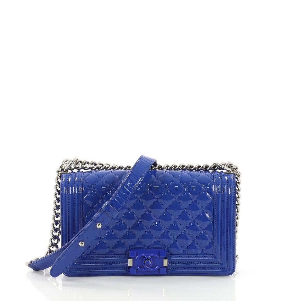 64d9b0fed537 Chanel Classic Flap Boy Quilted Plexiglass Old Medium Blue Patent Leather  Shoulder Bag