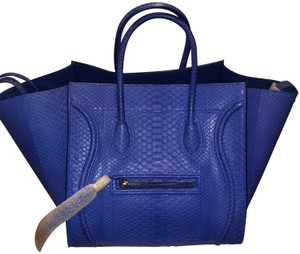 Celine Python Luggage Tote in Blue