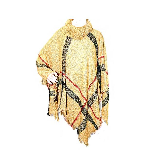 Item - Brown Beige Plaid Cowl Neck Check Style Wrap Poncho/Cape Size OS (one size)