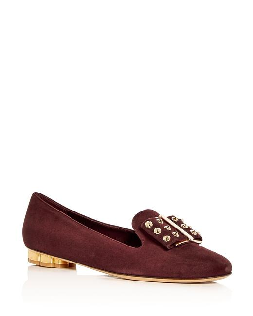 Item - Bordeaux Wine Red New Sarno Suede Bow Loafers Flats Size US 5.5 Regular (M, B)