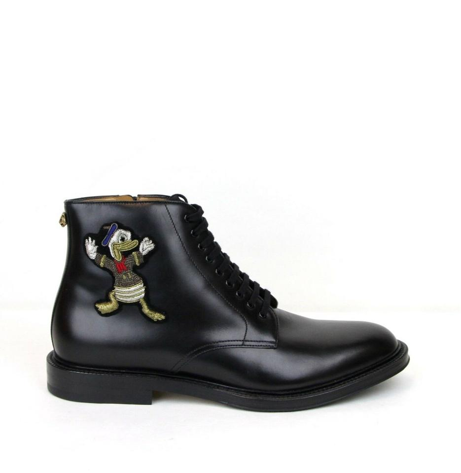 f0ccf346dcb Gucci Black W Leather Ankle Boots W/Embroided Donald Duck 12/Us 12.5 459086  Shoes