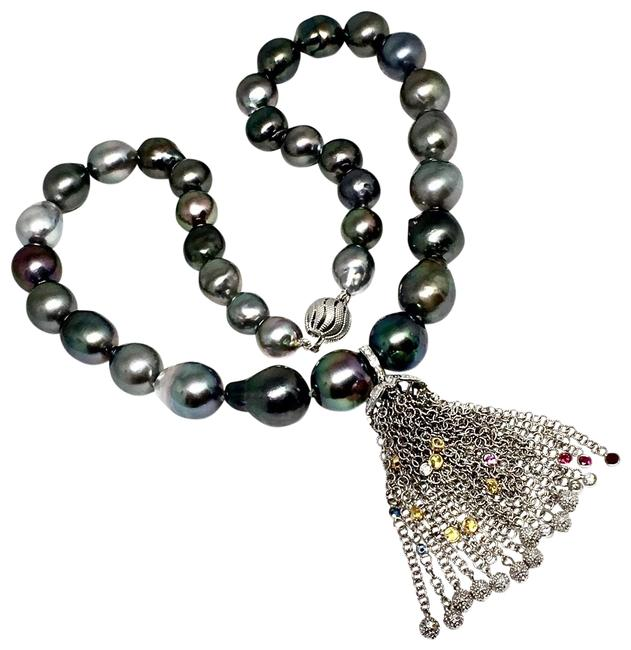 Vintage Black Diamond Sapphire Ruby Tahitian Pearl 18k Gold Certified 91088 Necklace Vintage Black Diamond Sapphire Ruby Tahitian Pearl 18k Gold Certified 91088 Necklace Image 1