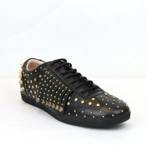 76f2d3324 Gucci Black Leather Studded Fringed Trainer Sneakers 11 Us 11.5 442938 Shoes