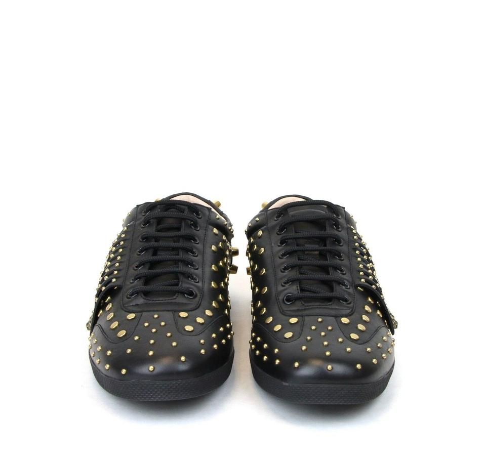840bd56fb225 Gucci Black Leather Studded Fringed Trainer Sneakers 11 Us 11.5 442938 Shoes  Image 7. 12345678