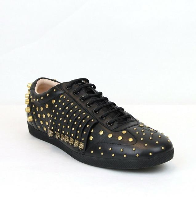 Gucci Black Leather Studded Fringed