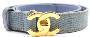 Chanel CC turnlock logo buckle denim and leather Belt size 70 28
