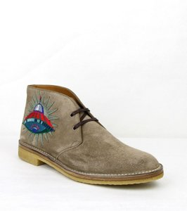 Gucci Beige W Suede Ankle Boots W/ Owl and Ufo Embroided 8/Us 8.5 473023 2351 Shoes