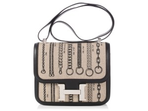 Hermès Hr.q0103.06 Canvas Chain Limited Edition Reduced Price Cross Body Bag