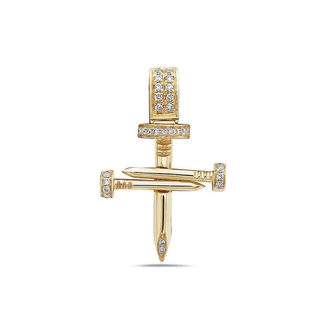 Item - 14k Yellow Gold Cross Of Nails Pendant with 0.16 Ct Diamonds