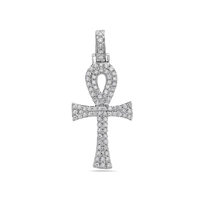 Item - 14k White Gold Men's Ankh Pendant with 0.40 Ct Diamonds