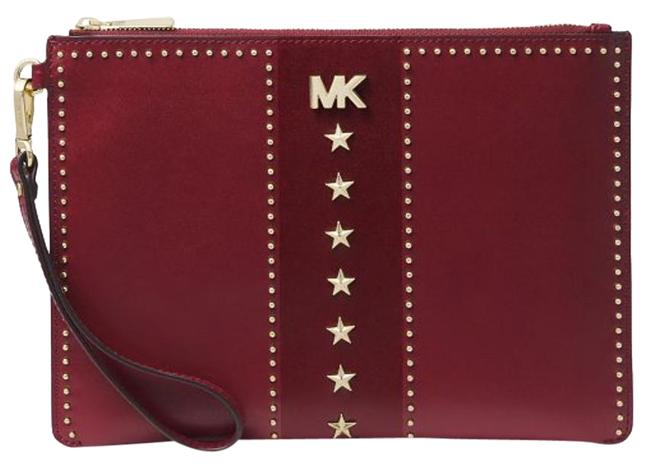 Item - Clutch Medium Zip Pouch Studded Maroon Oxblood Gold Leather Wristlet