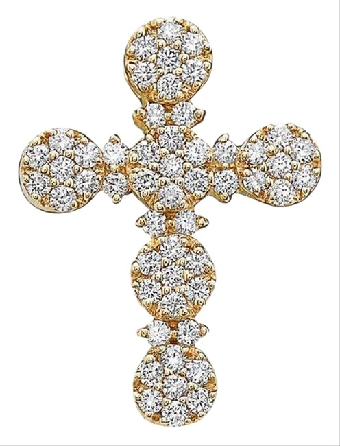 Item - 14k Yellow Gold Cross Pendant with 0.85 Ct Diamonds