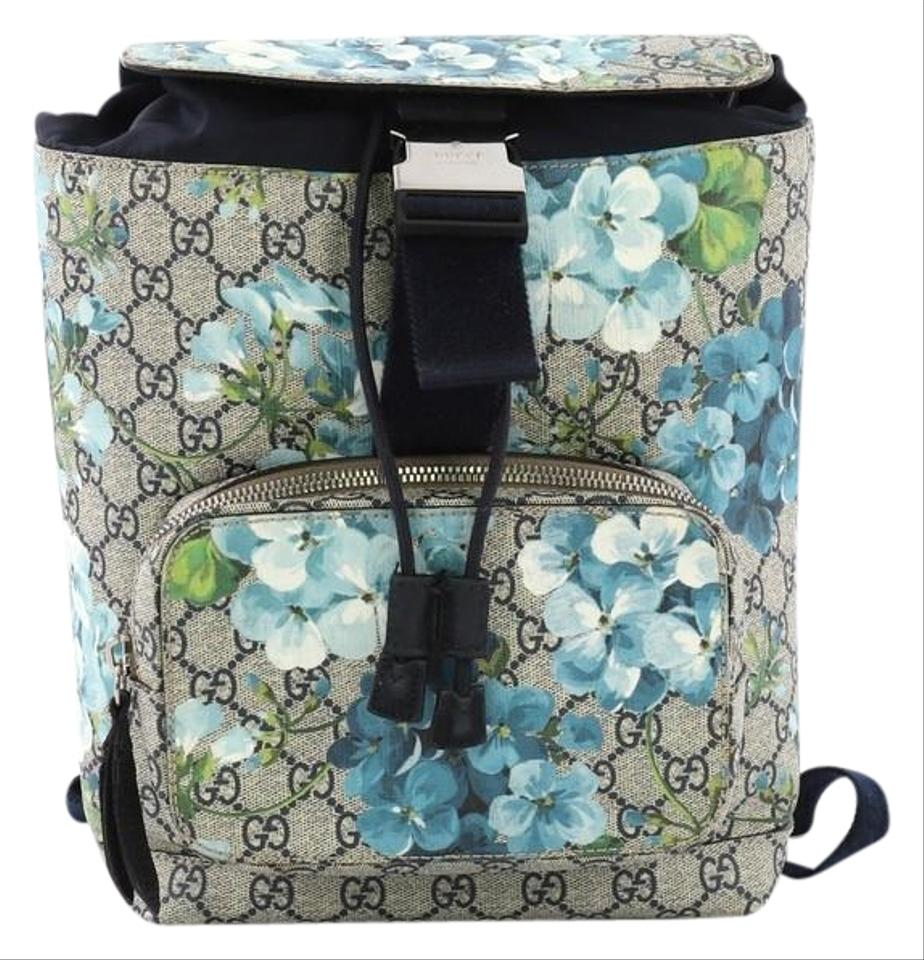 ca0d9dc67a9 Gucci Buckle Blooms Print Gg Coated Small Blue Canvas Backpack - Tradesy
