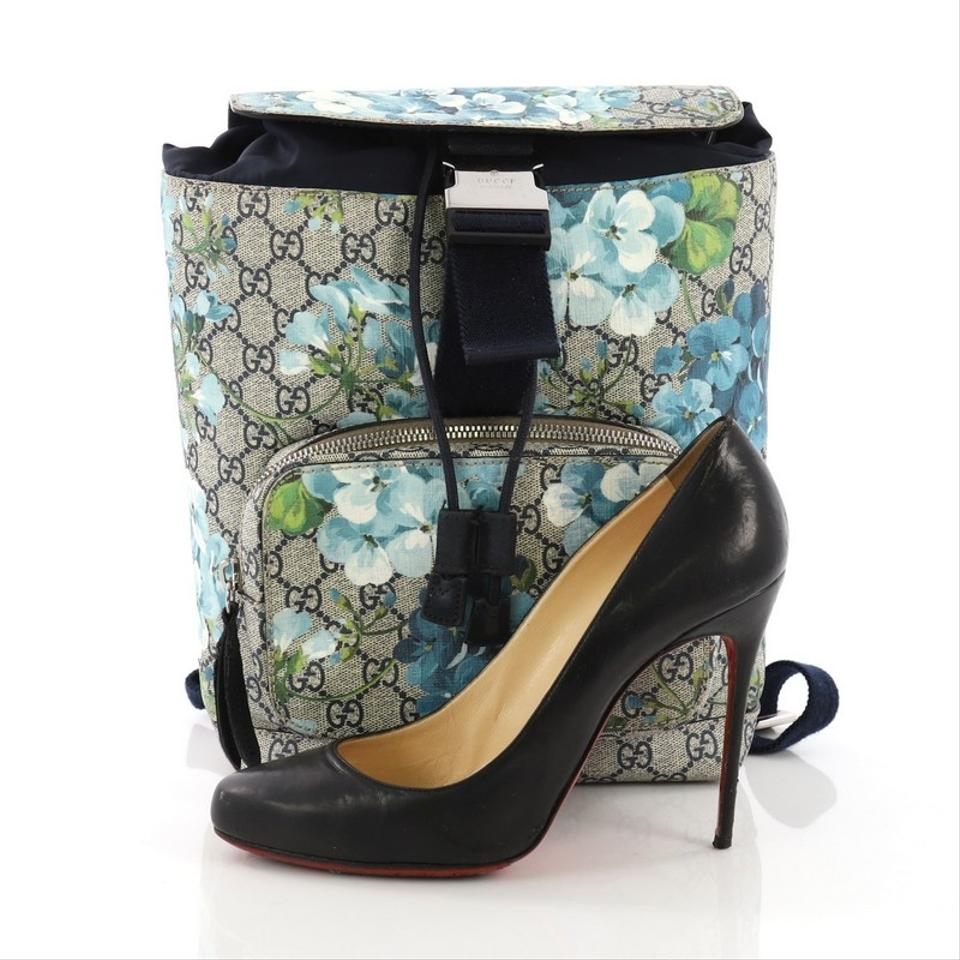 9e15aba05ae0e1 Gucci Buckle Blooms Print Gg Coated Small Blue Canvas Backpack - Tradesy