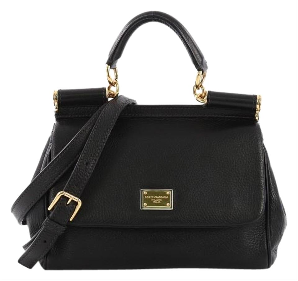 c4a64c765a Dolce Gabbana Miss Sicily Handbag Small Black Leather Satchel - Tradesy
