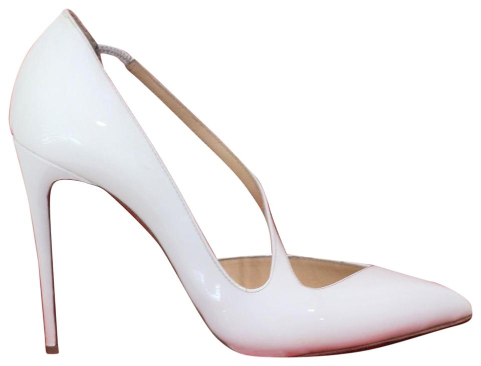 fe9d6a883491 Christian Louboutin White Jumping Patent Leather Pumps Size EU 38 ...