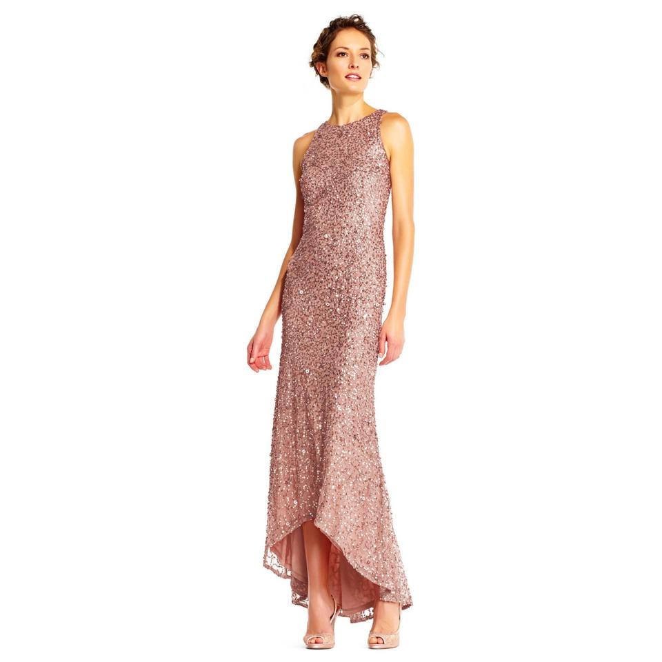 acfadf6c13353 Adrianna Papell Rose Gold Beaded Halter Sequin High Low Gown Formal Dress