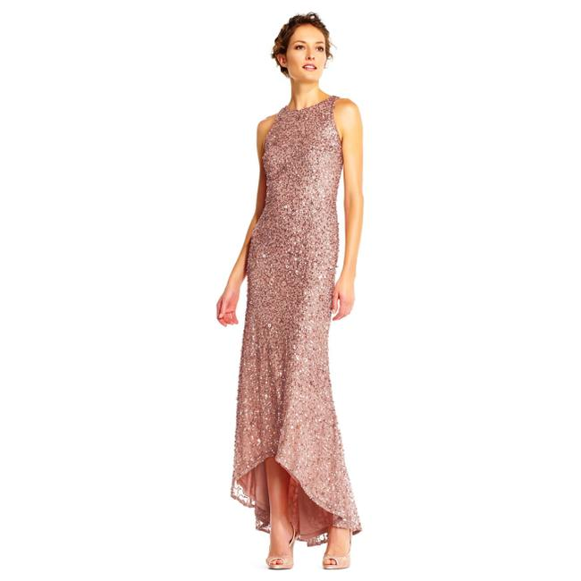 Item - Rose Gold Beaded High Low Sequin Gown Long Formal Dress Size 4 (S)