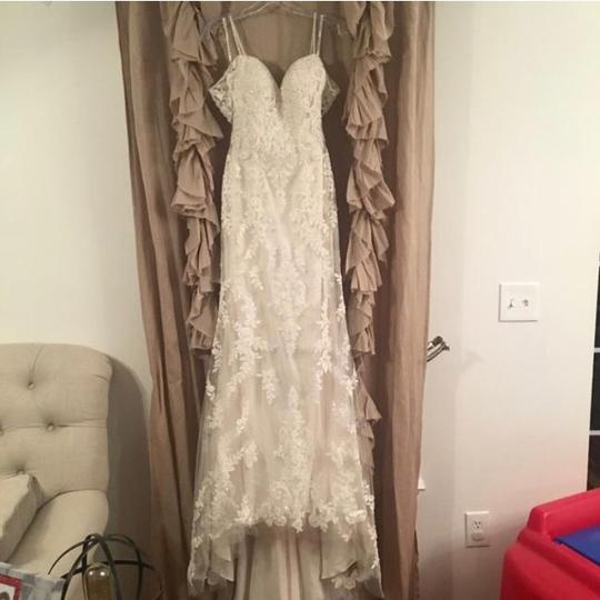 Maggie Sottero Ivory Over Soft Blush Lace/Tulle Angelica Gown Feminine Wedding Dress Size 2 (XS)