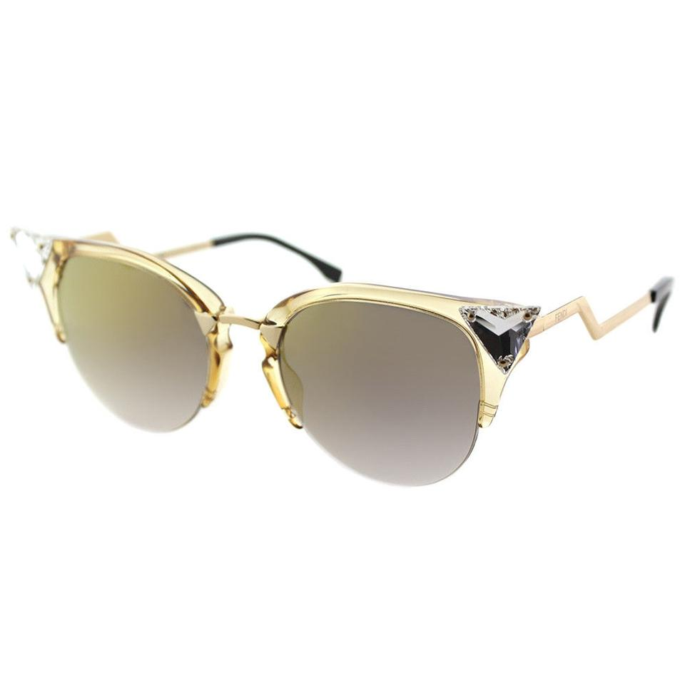 a064b0d837 Fendi Fendi Iridia FF0041 27L Crystal Cat-Eye Sunglasses Gold Mirror Lens  ...