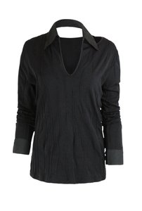 Rayure Stretch Knit Textured Top Black