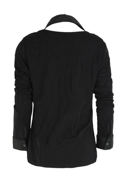 Rayure Stretch Knit Textured Top Black Image 2