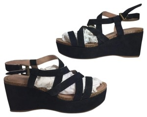 Adam Tucker Leather Double Strap Callf Hair black Sandals