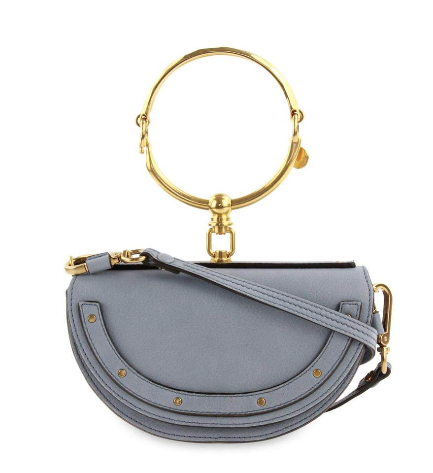 99a415cf58d8 Chloé Nile Small Bracelet Minaudiere Leather Washed Blue Cross Body ...