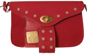 Mark & James by Badgley Mischka Patent Leather Gold Red Clutch