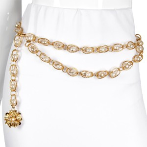 Chanel RARE Season 25 1980s Vintage Gold Chain Link Dome & Pearl Belt