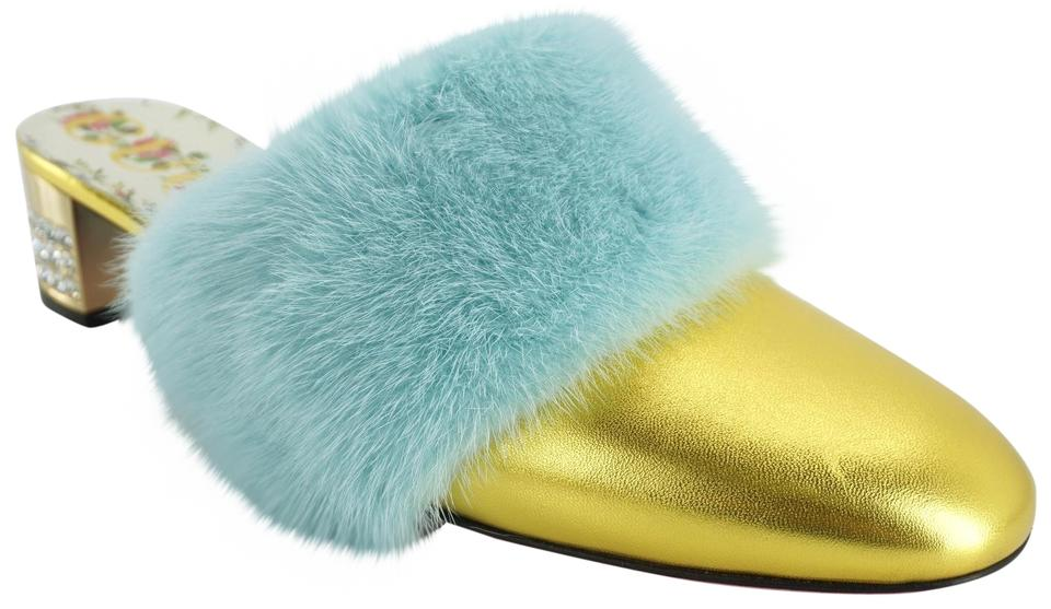 8f153f4ed Gucci Gold Candy Blue Mink Fur Crystal Embellished Heel Pumps Mules ...