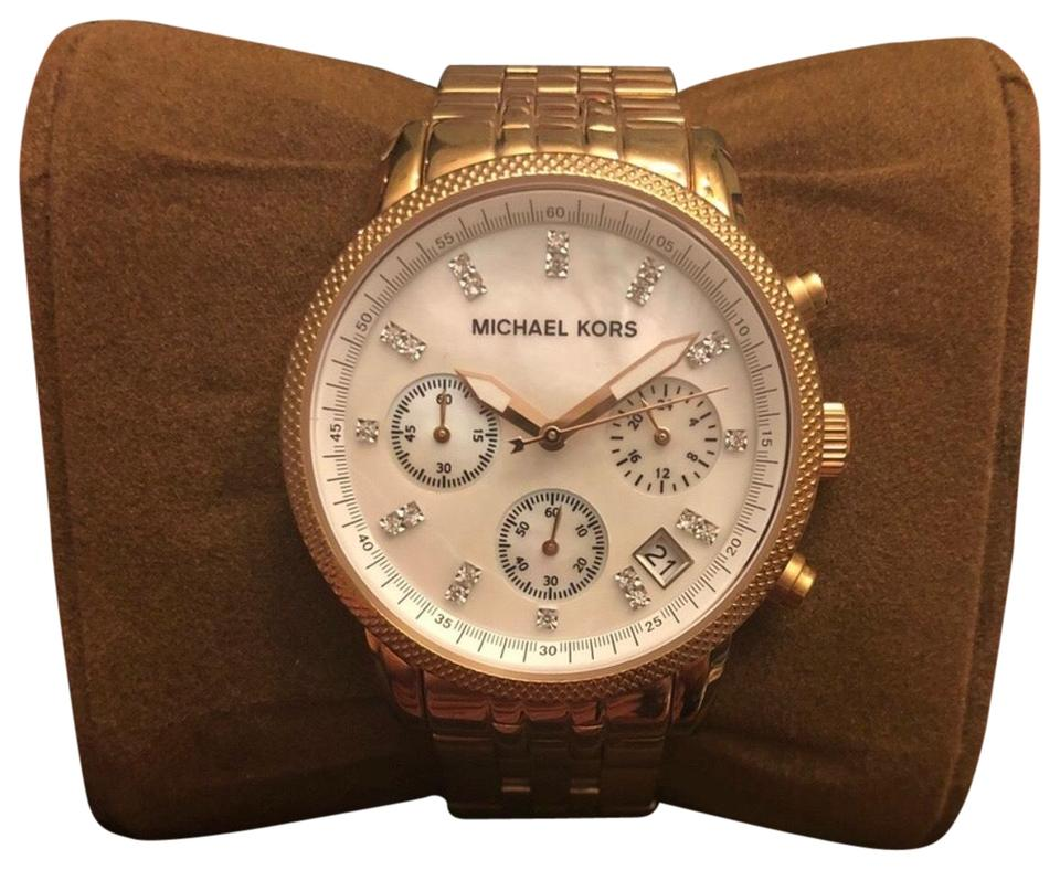 38aadac90589 Michael Kors Rose Gold Mother Of Pearl Chronograph Watch - Tradesy