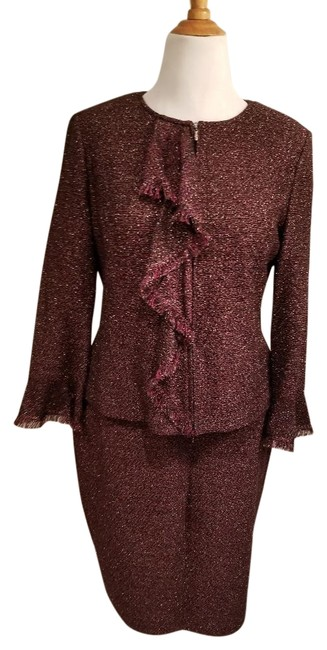 Item - Burgundy/Black/Gold Skirt Suit Size 14 (L)