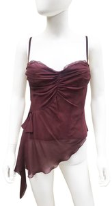 La Perla Corset Silk Lace Zipper Draped Top Burgundy