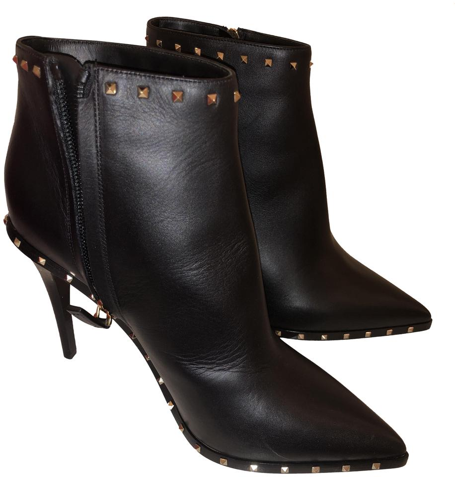 052dffdcb000 Valentino Black Rockstud Leather Ankle Boots Booties Size EU 38 ...