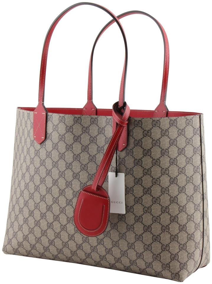 27c30c8b859342 Gucci Reversible Gg Medium Red Leather Tote - Tradesy
