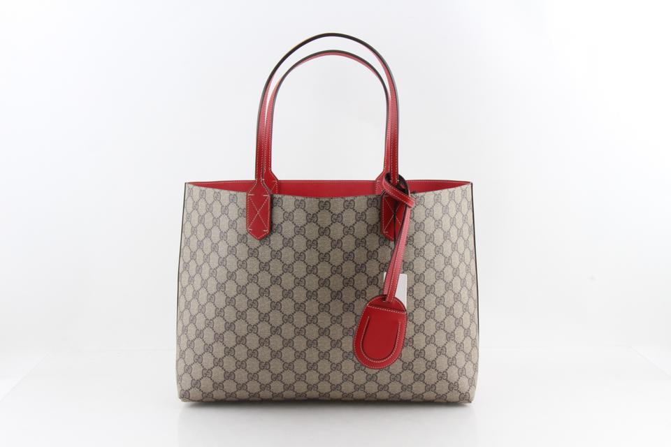 490a919d7bf845 Gucci Reversible Gg Medium Red Leather Tote - Tradesy