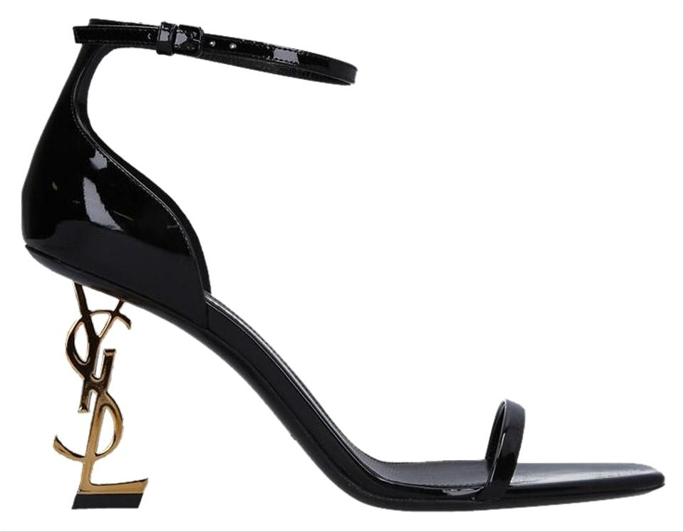 effcd000989e Saint Laurent Black   Gold Patent Opyum Sandals Size EU 36.5 (Approx ...