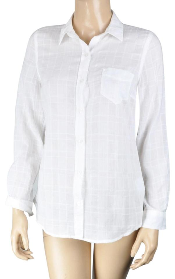 bd48ee56b8 Old Navy White Plaid Sheer Shirt Button-down Top Size 2 (XS) - Tradesy