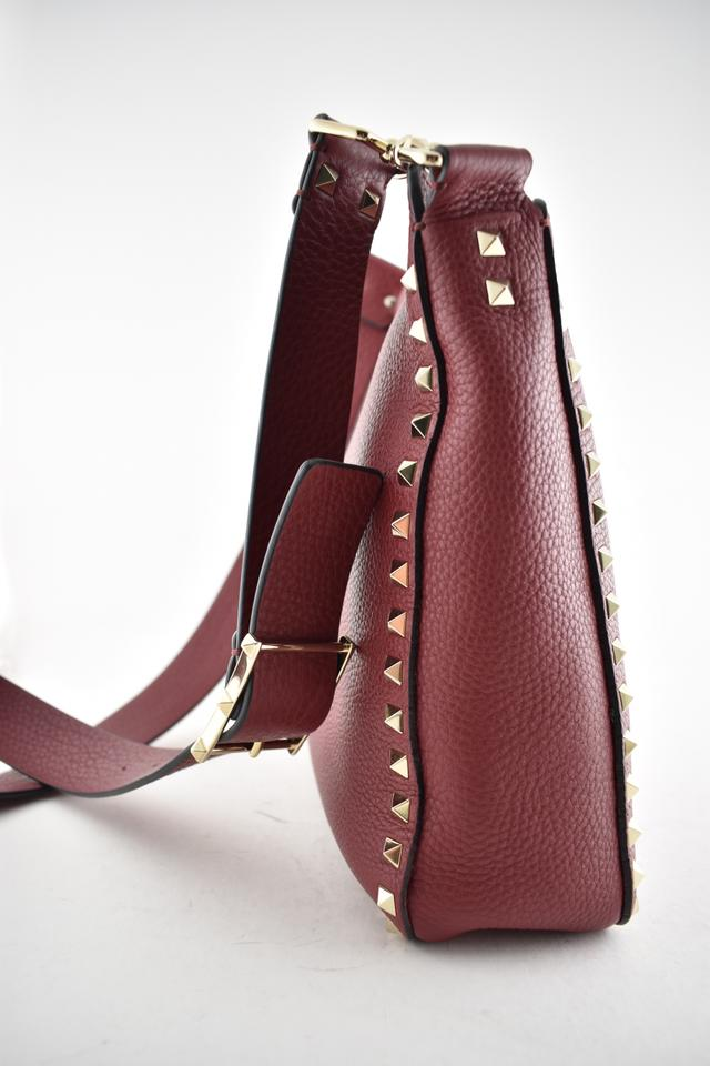 8caf680f29 Valentino Rockstud Small Utilitarian Hobo Strap Shoulder Messenger Red  Leather Cross Body Bag