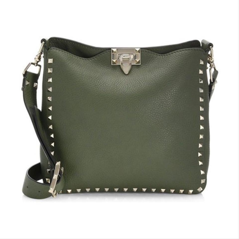 c993a54e7f Valentino Rockstud Small Utilitarian Hobo Strap Shoulder Messenger Green  Leather Cross Body Bag - Tradesy