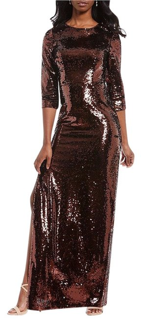 Item - Bronze Sequined 3/4 Sleeve Column Gown Long Formal Dress Size 4 (S)