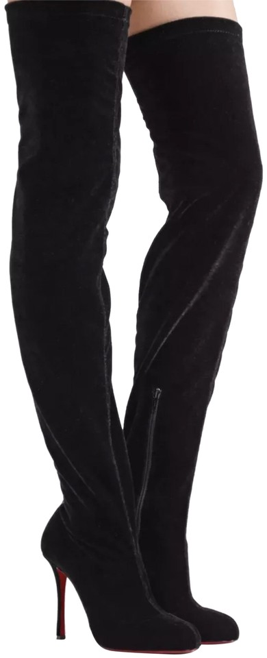 776fcb17655 Christian Louboutin Black Classe Velvet 100 Stretch Thigh High 1 2 Boots  Booties