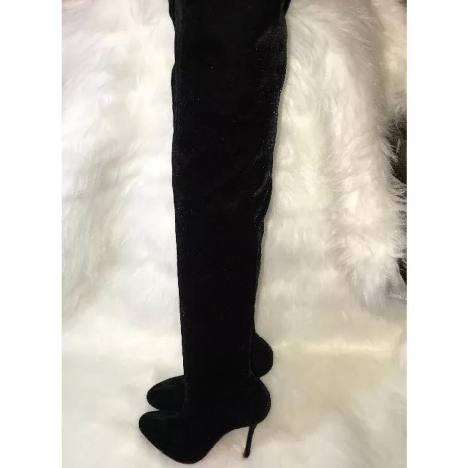 3d91bef46f6 Christian Louboutin Black Classe Velvet 100 Stretch Thigh High 1 2 Boots Booties  Size US 8.5 Regular (M