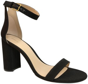 Stuart Weitzman Chunky Heel Strappy Textured Black Sandals
