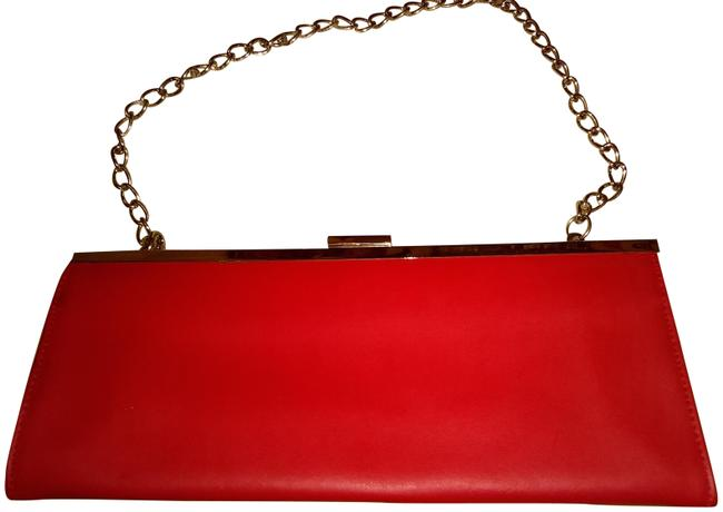 Item - Gold Trim Red Synthetic Clutch