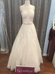 Maggie Sottero Ivory / Light Gold Lace Rebecca Ingram By Allison Traditional Wedding Dress Size 10 (M)